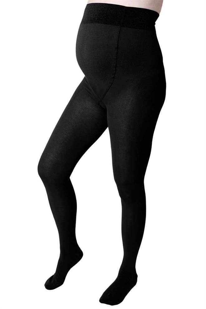 Image of Sort graviditets strømpebukser i merino ULD (ELLE-blk)