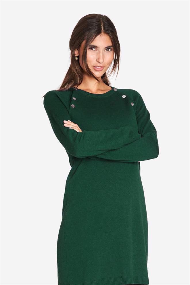 Image of   Grøn ammekjole med rund hals og knappåbning, i uld/viscose strik