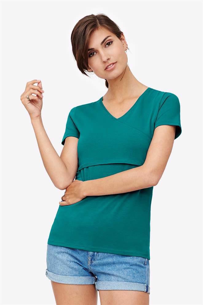 Image of   Grøn kortærmet ammebluse i slå-om look - Økologisk bomulds jersey