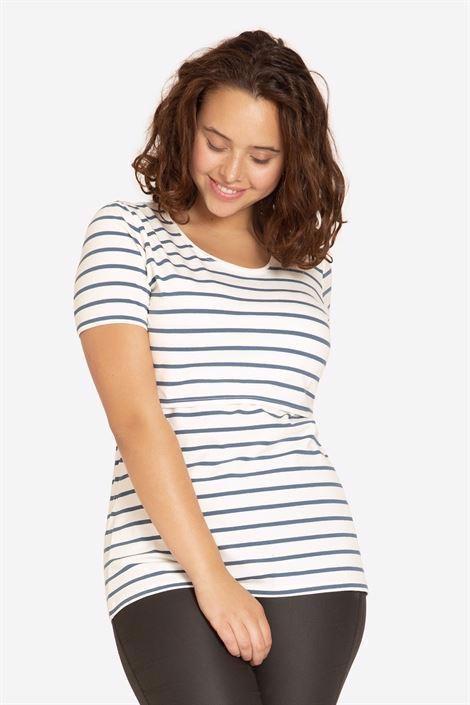 Image of Hvid amme t-shirt med blå striber og rund hals og korte ærmer (NOOR-cre-XL)