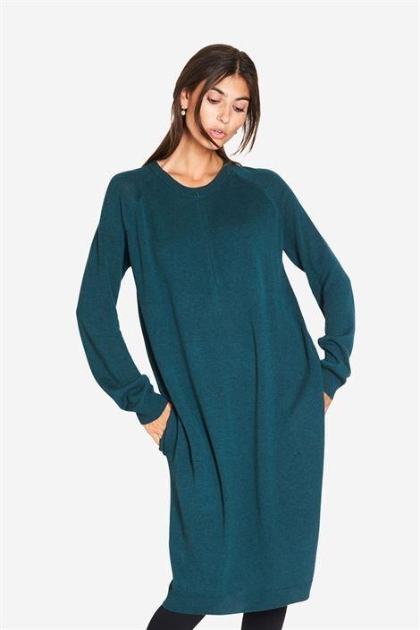 Image of   Grøn ammekjole med lommer og lynlås ammeåbning i, den skønneste Merino uld/viskose