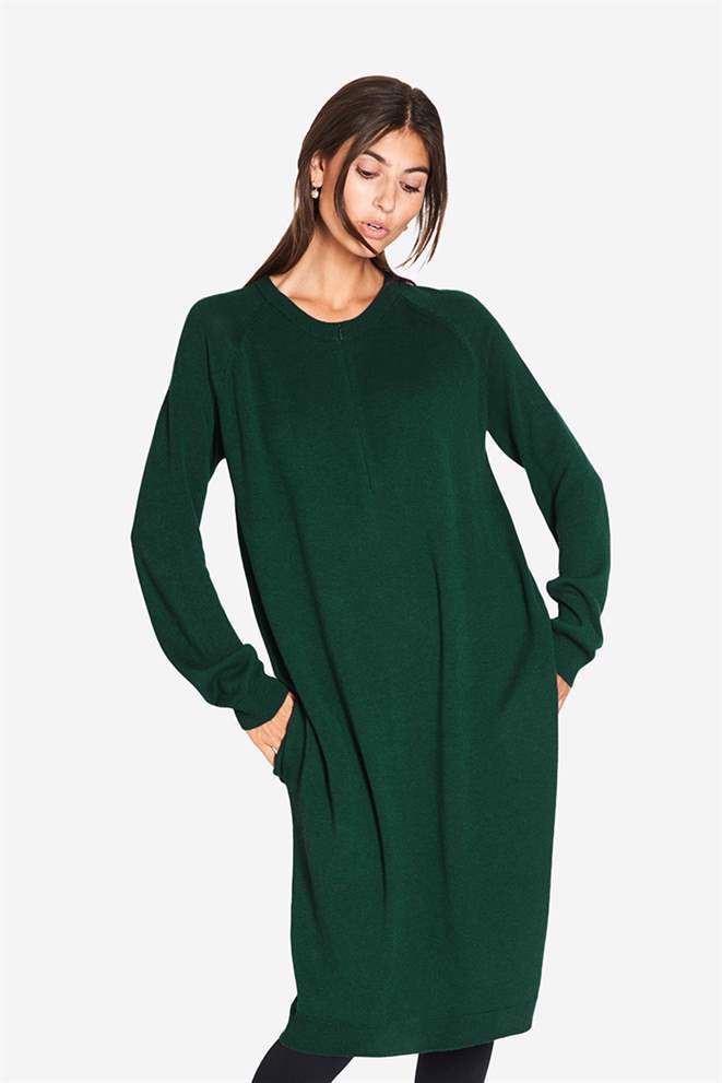 Image of Grøn ammekjole med lommer og lynlås ammeåbning i, den skønneste Merino uld/viskose (CHLOE-pin-XS)